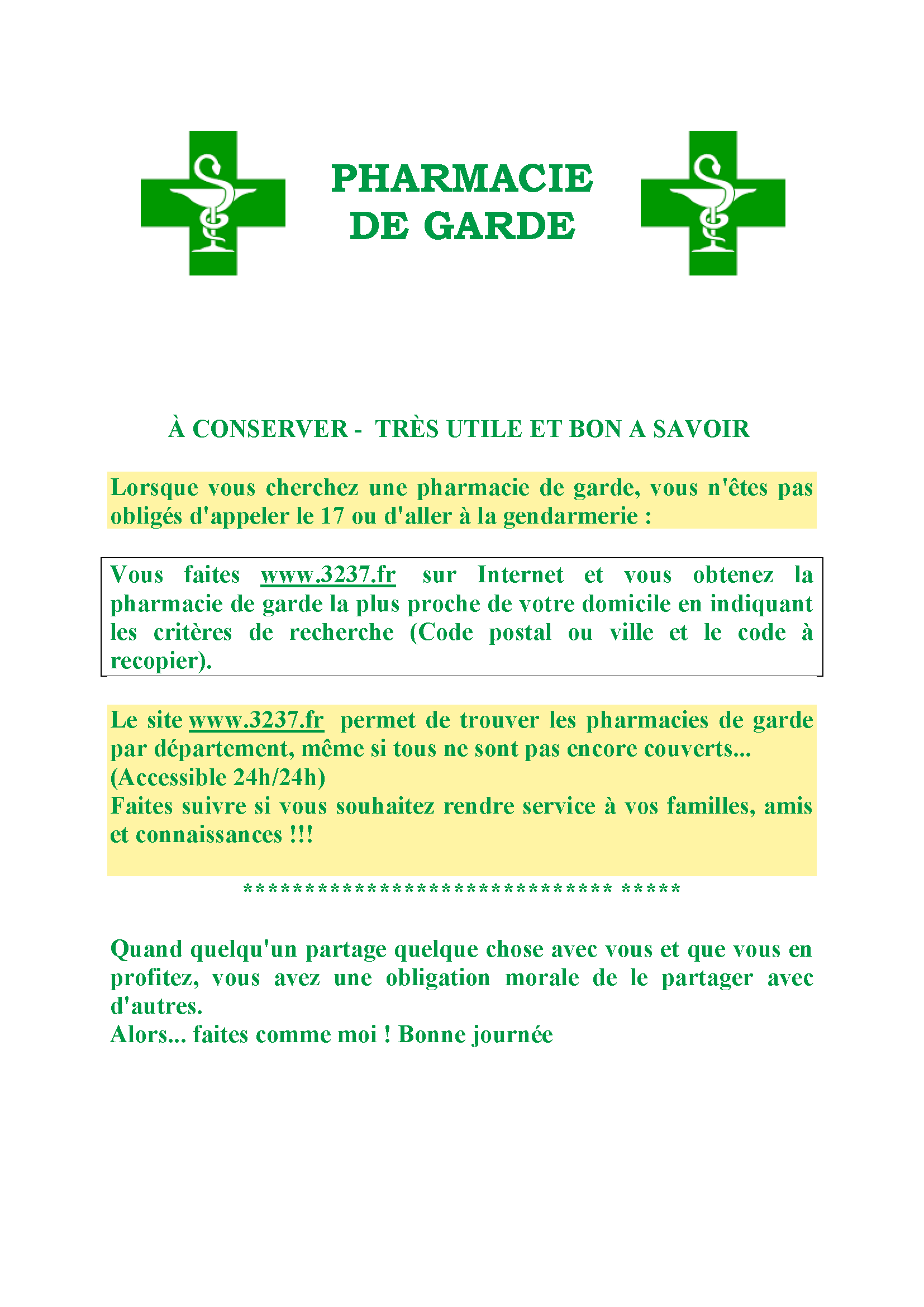 PHARMA CIE DE GARDE(CS)