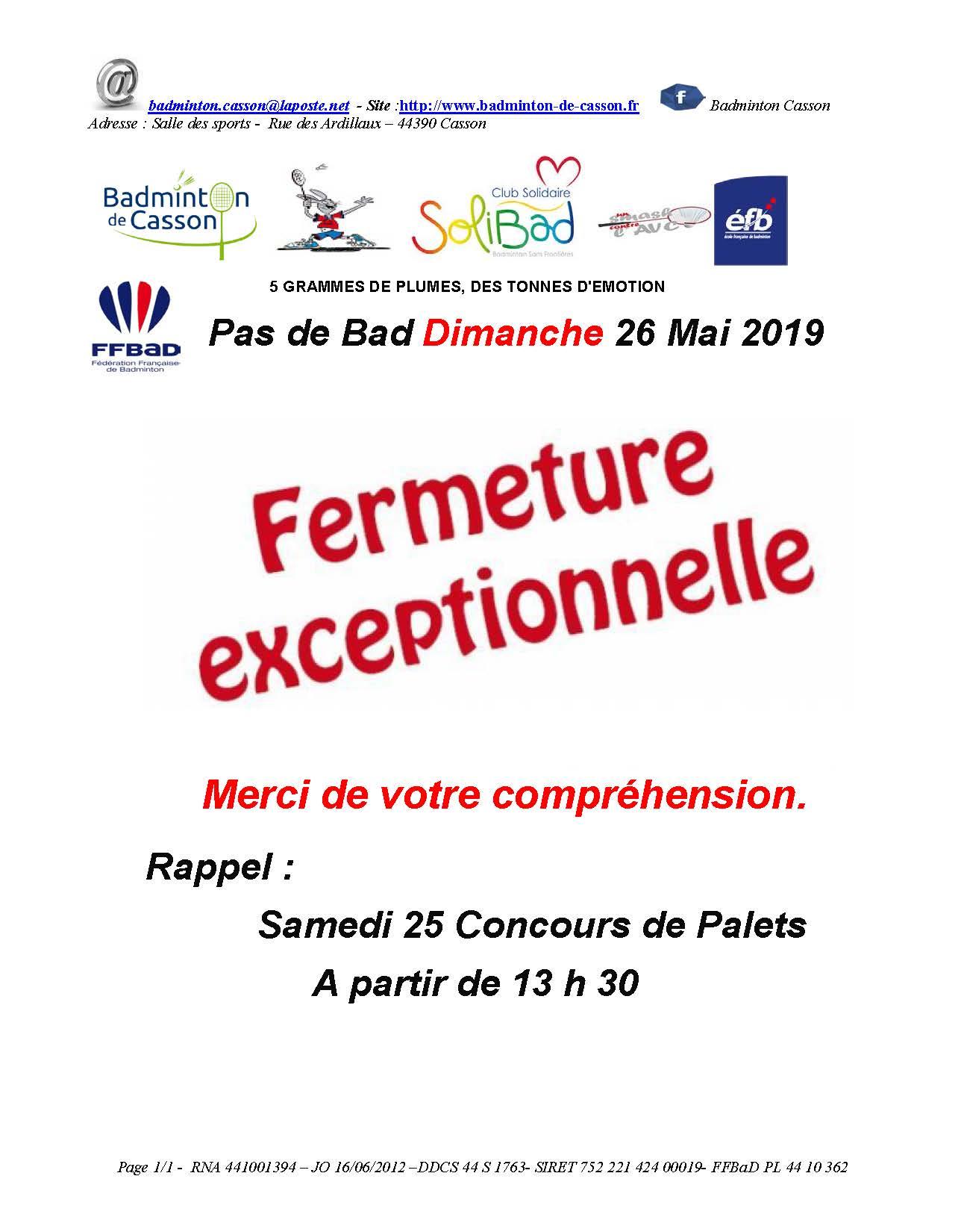 pas de badminton le 26 mai