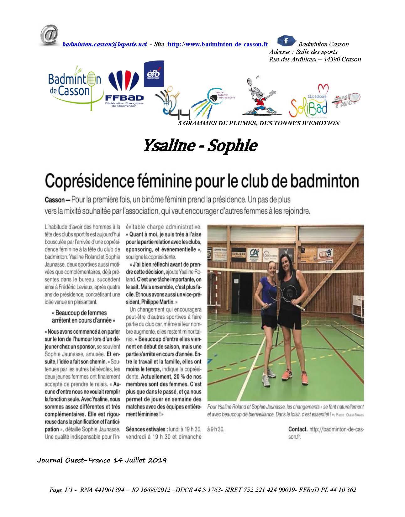 Coprésidence féminine au badminton de Casson