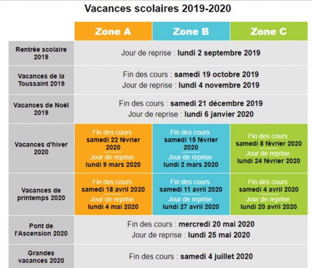 vacances scolaires2019-2020