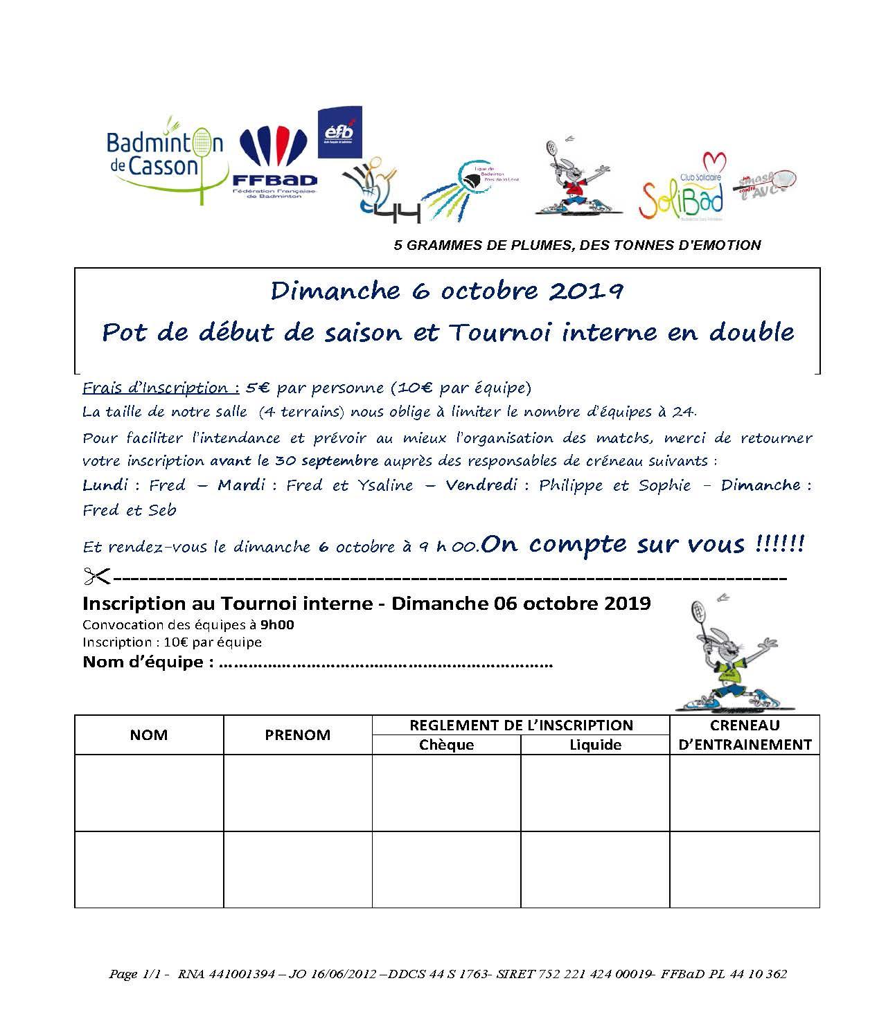 Inscription Pot de début de saison et Tournoi Interne 2019